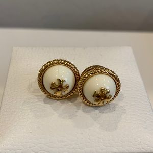New Tory Burch gold and ivory stud earrings